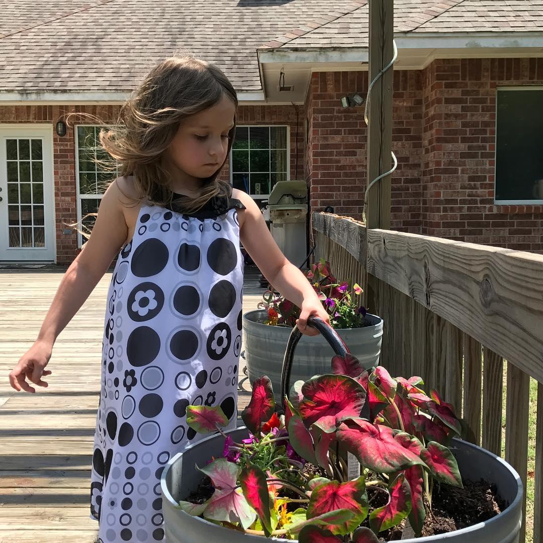My little gardener She loves planting flowers oklahoma springtime
